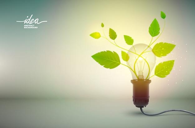 Cartel abstracto de idea de bombilla de luz amarilla con equipo eléctrico y flor verde que crece desde el poder vector gratuito