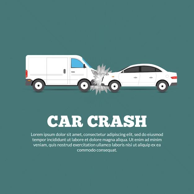 Cartel de accidente automovilístico vector gratuito