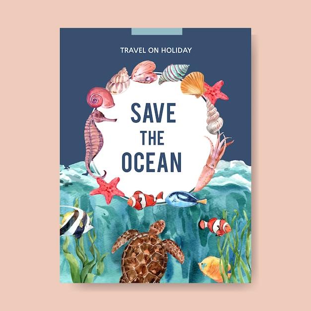Cartel con acuarela tema-sealife, plantilla de ilustración colorida creativa. vector gratuito