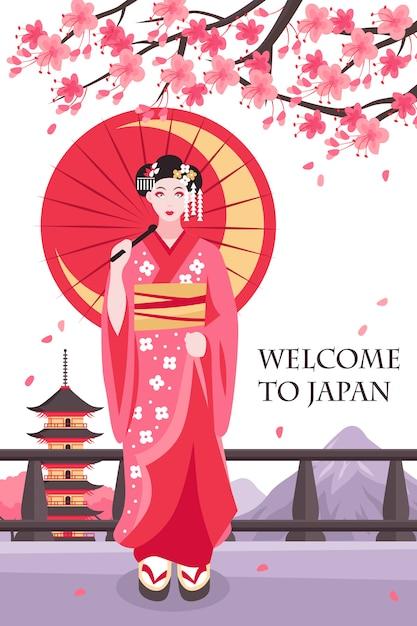 Cartel antiguo de la geisha de japón vector gratuito