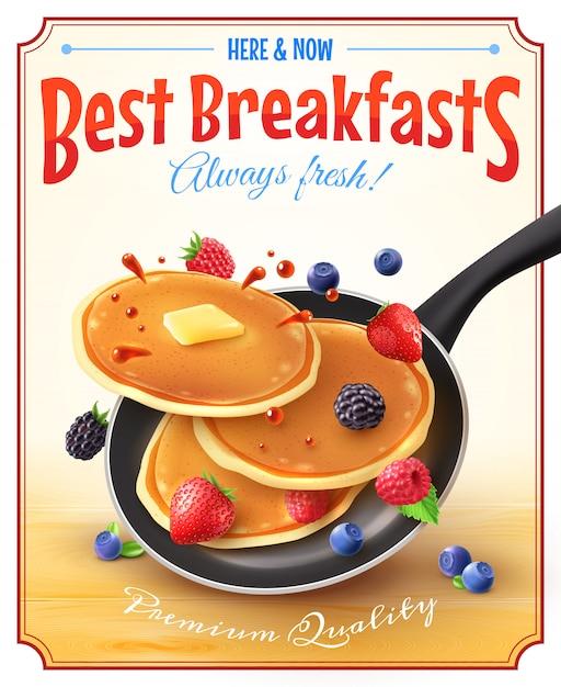 Cartel del anuncio del vintage de los mejores desayunos vector gratuito