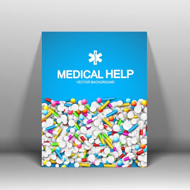 Cartel de ayuda médica con píldoras cápsulas vector gratuito