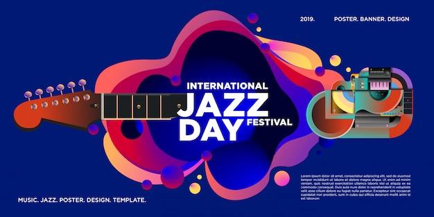 Cartel y banner del día internacional del jazz. Vector Premium