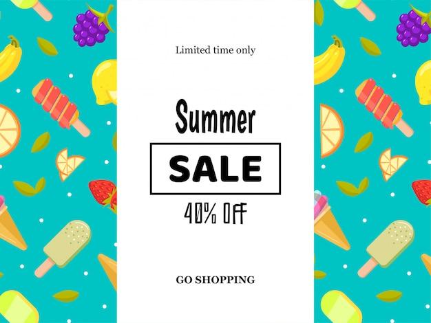 Cartel de banner de venta de verano con frutas y helado. Vector Premium