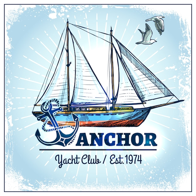 Cartel de barco de vela vector gratuito