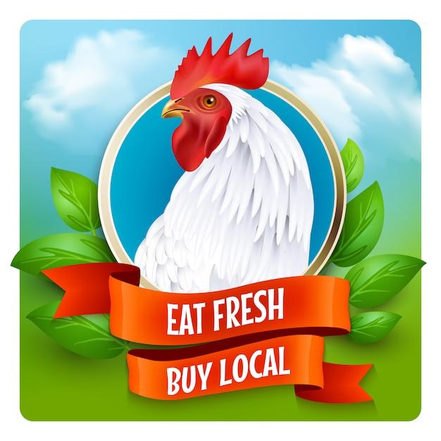 Cartel blanco del anuncio de la cabeza del gallo vector gratuito