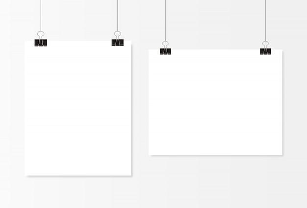 Cartel en blanco blanco colgando Vector Premium