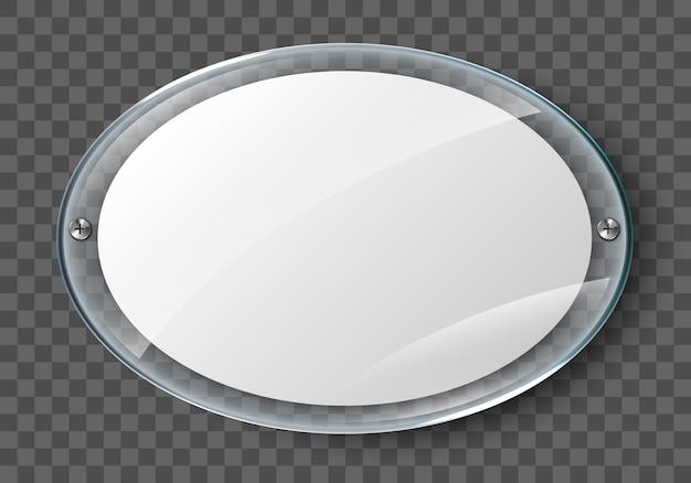 Cartel en blanco en marco de cristal realista aislado sobre fondo transparente. cartel de foto acrílico de pared transparente con marco de exhibición Vector Premium