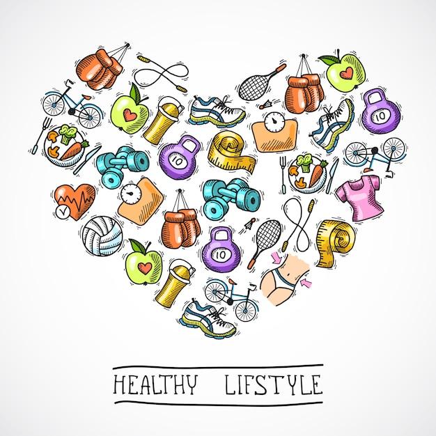 Cartel de boceto de fitness vector gratuito