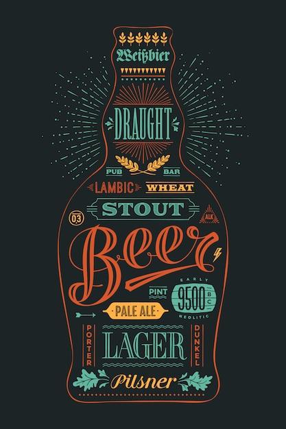 Cartel de botella de cerveza con letras dibujadas a mano Vector Premium