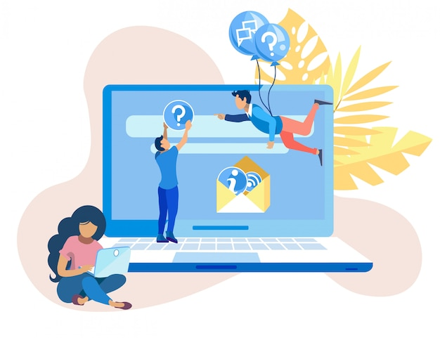 Cartel brillante call center agentes de dibujos animados. Vector Premium