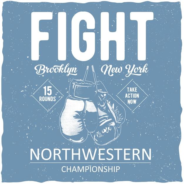 Cartel del campeonato del noroeste de boxeo vector gratuito