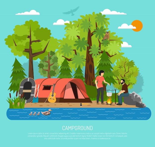Cartel de la carpa de verano familiar de recreación de camping vector gratuito