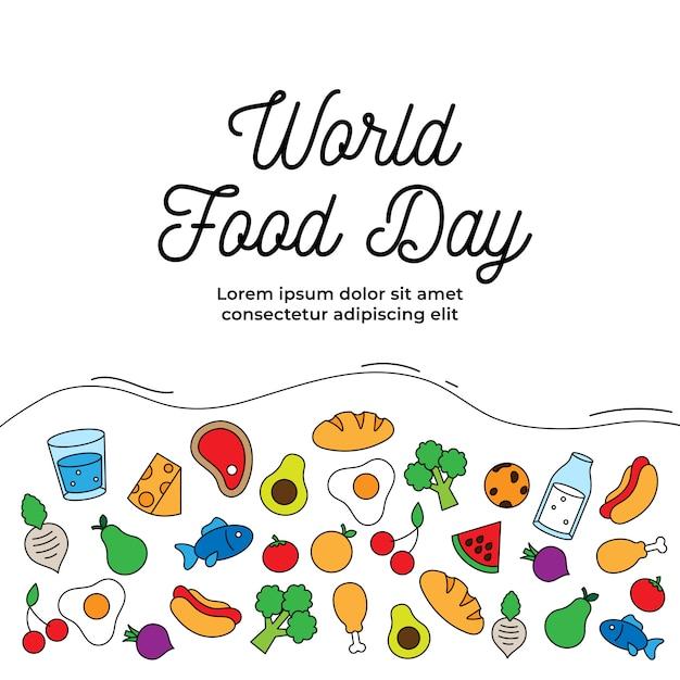 Cartel de celebración del día mundial de la alimentación. varios tipos de comida bebida simple icono. Vector Premium