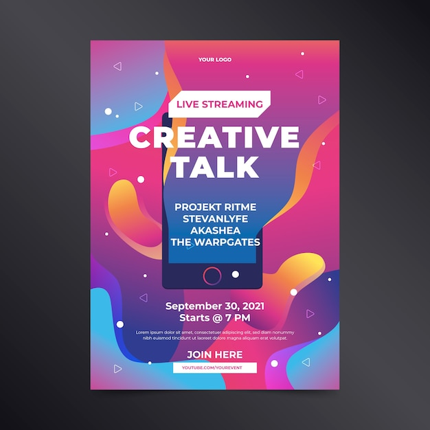 Cartel de charla creativa de transmisión en vivo dibujado a mano vector gratuito