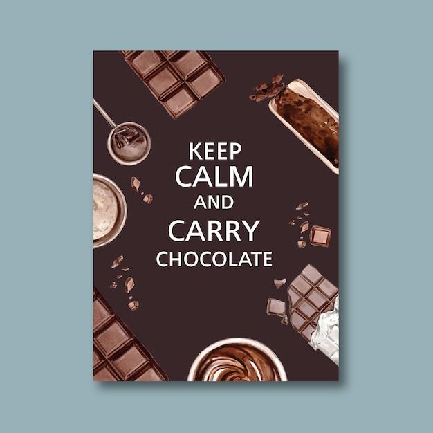 Cartel de chocolate con ingredientes haciendo barra de chocolate roto, ilustración acuarela vector gratuito