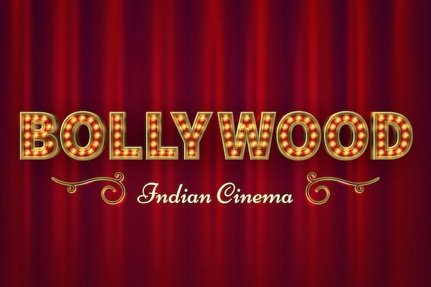 Cartel de cine de bollywood. película clásica india vintage con cortinas rojas Vector Premium