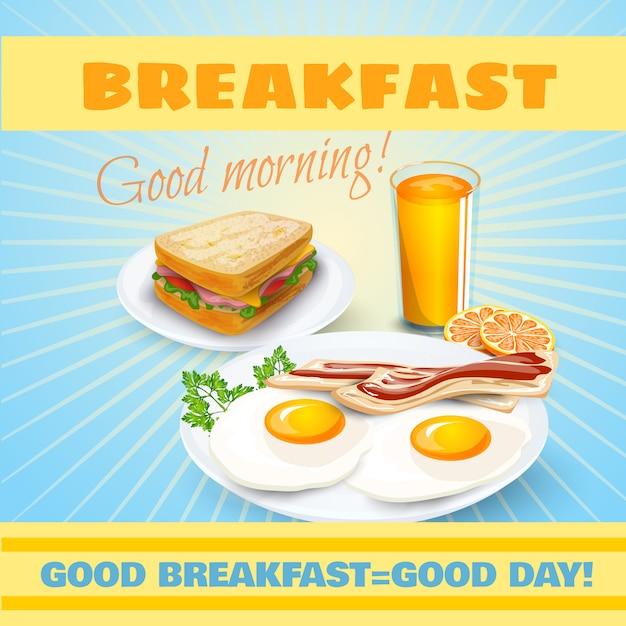 Cartel clásico desayuno vector gratuito