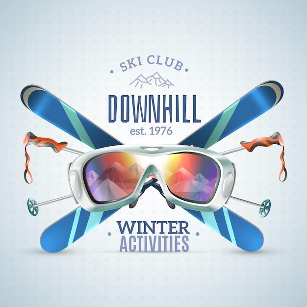 Cartel del club de esquí vector gratuito