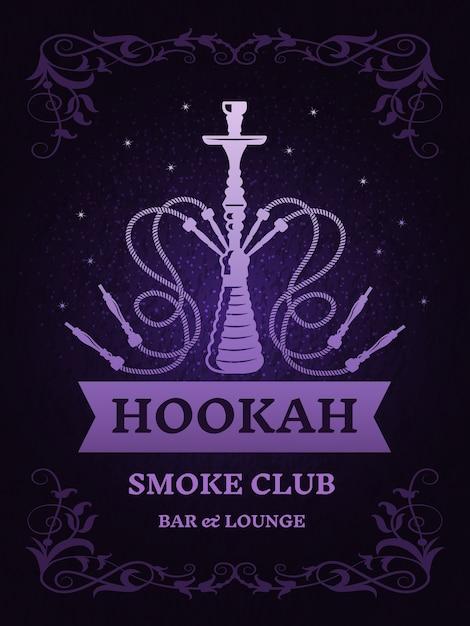 Cartel para club de humo con ilustración de cachimba. plantilla con lugar para el texto. cartel del club de humo de cachimba con insignia Vector Premium