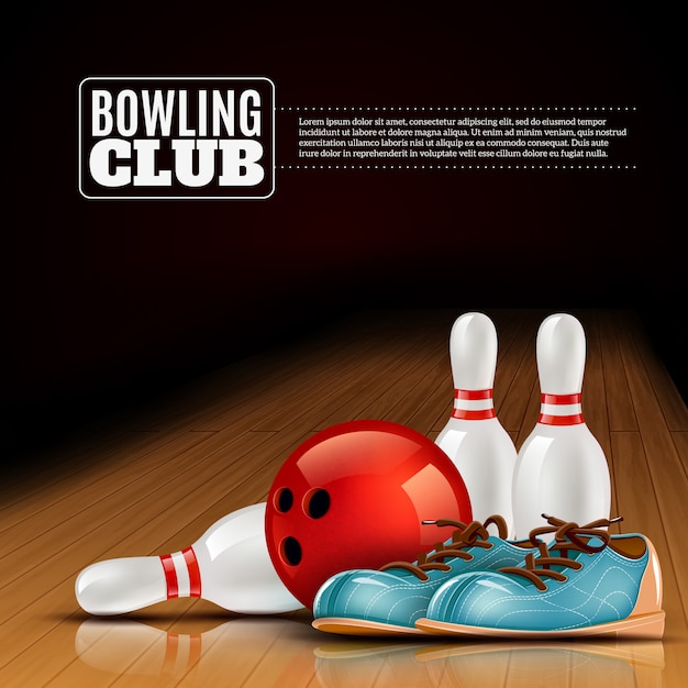 Cartel del club indoor de bowling league vector gratuito