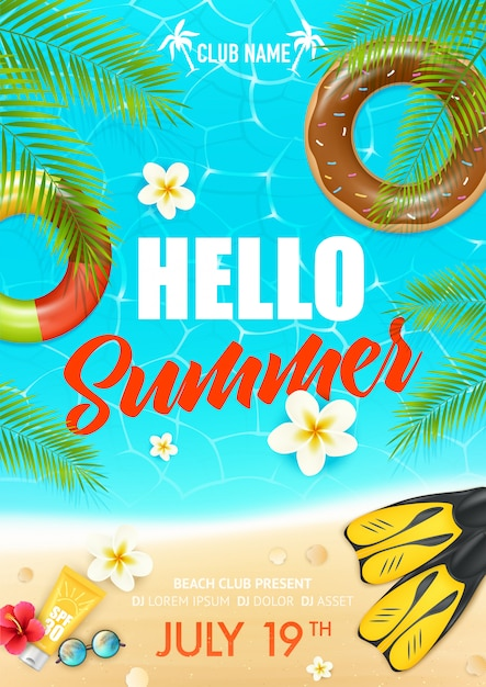 Cartel del club de vacaciones de playa de verano vector gratuito