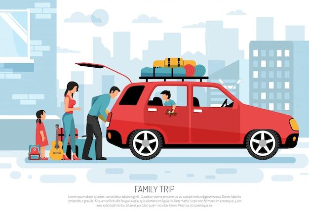 Cartel de coche de viaje familiar vector gratuito