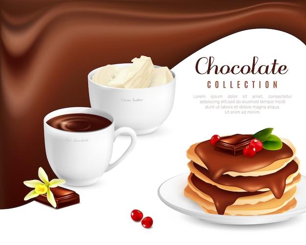 Cartel de la colección de chocolate vector gratuito