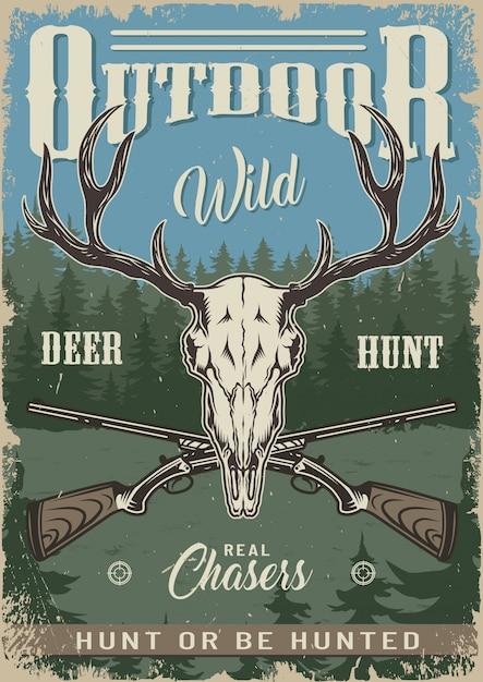 Cartel colorido de caza vintage vector gratuito