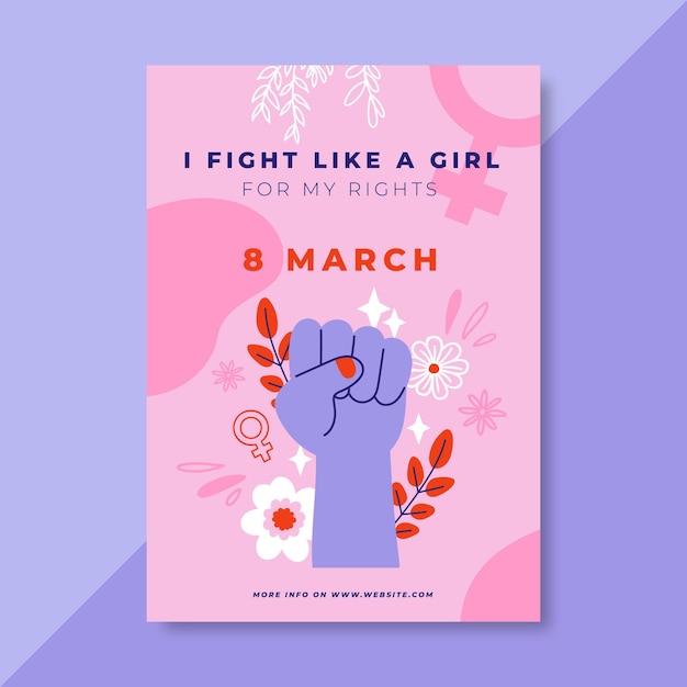 Cartel colorido del día de la mujer del doodle vector gratuito