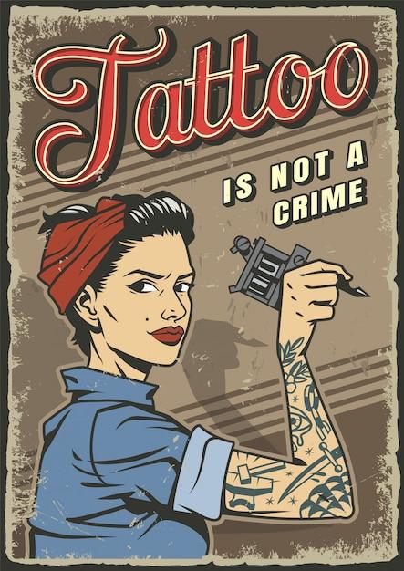 Cartel colorido del estudio de tatuajes vintage vector gratuito