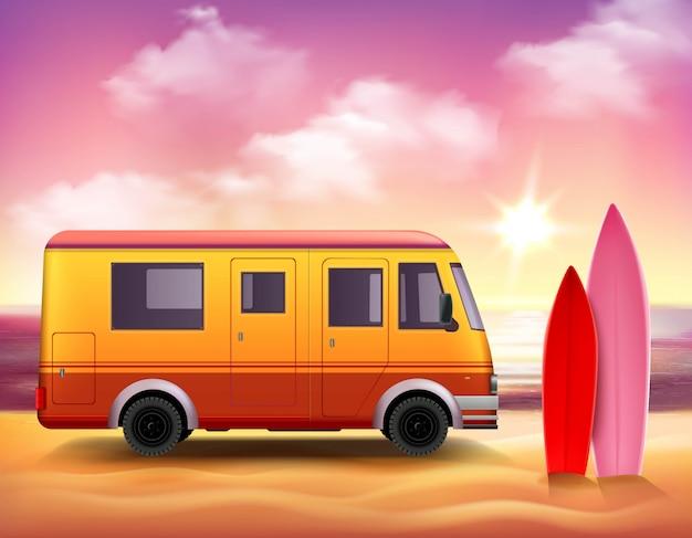Cartel colorido del fondo 3d de van que practica surf vector gratuito
