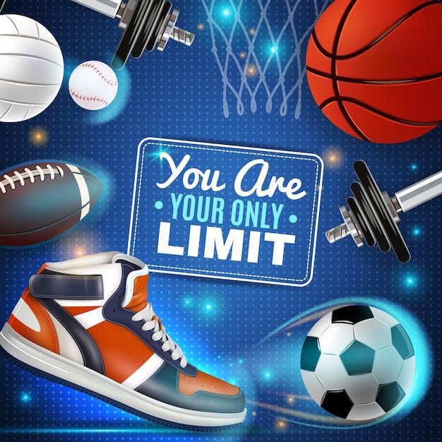 Cartel colorido con inventario de deporte vector gratuito