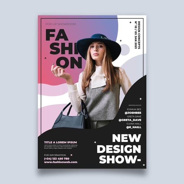 Cartel colorido de la moda con foto vector gratuito