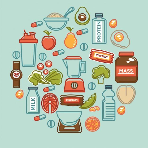 Cartel de la comida de la aptitud de los iconos de la nutrición de la comida de la dieta sana de los deportes. Vector Premium