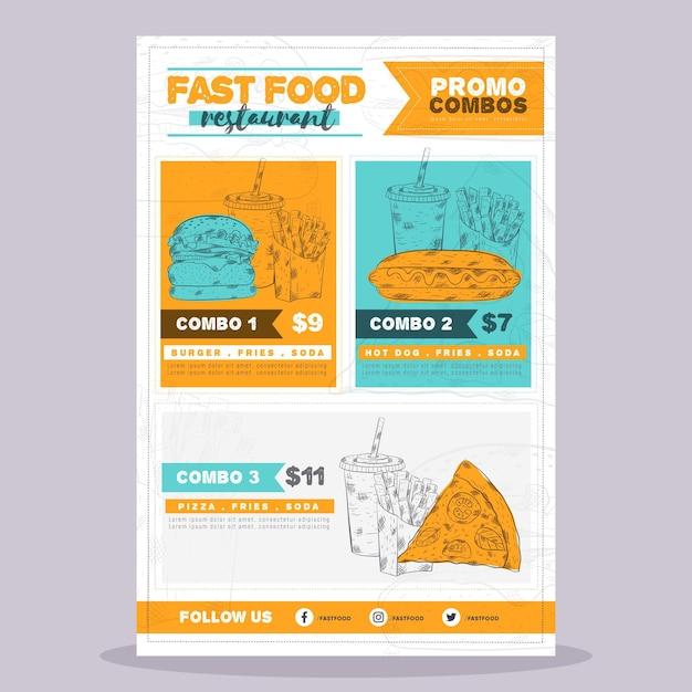 Cartel de comida rápida de comidas combinadas. vector gratuito