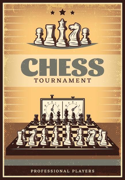 Cartel de competición de ajedrez vintage vector gratuito