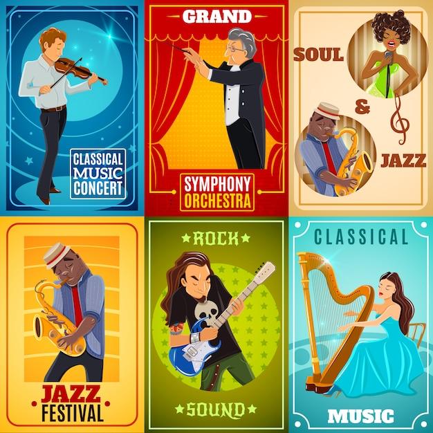Cartel de composición de banners planos de músicos vector gratuito