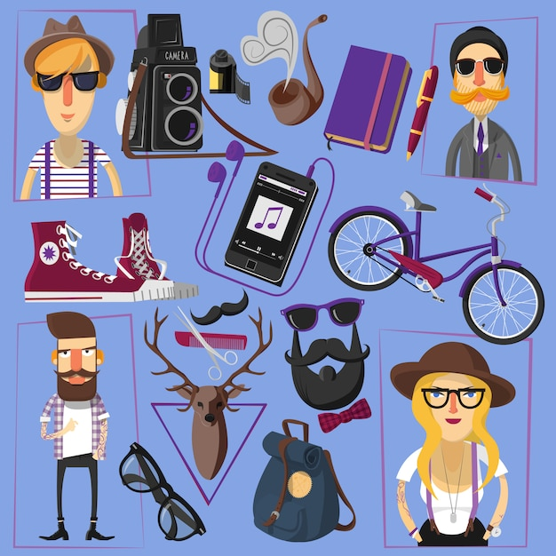 Cartel de composición de iconos planos de hipster vector gratuito