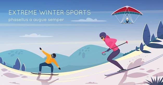 Cartel de composición plana de actividades deportivas extremas con snowboard, esquí y kitesurf. vector gratuito