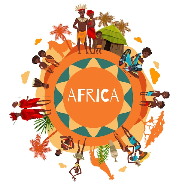 Cartel de composición redonda de símbolos culturales africanos vector gratuito