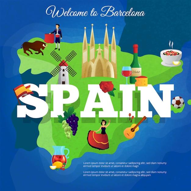 Cartel de composición de símbolos culturales de españa para viajeros con bandera nacional y paella. vector gratuito
