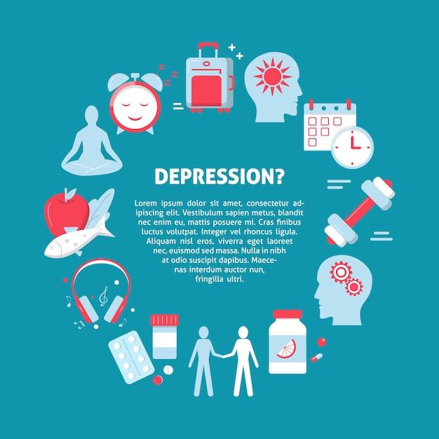 Cartel concepto de tratamiento de la depresión. Vector Premium