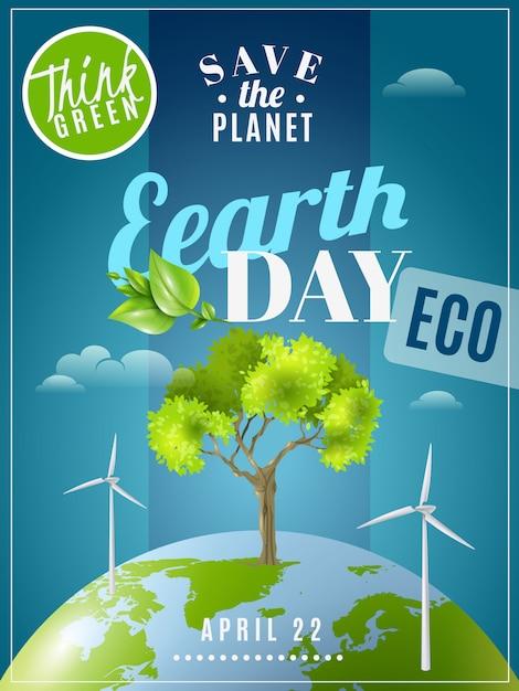 Cartel de la conciencia de la ecología del día de la tierra vector gratuito