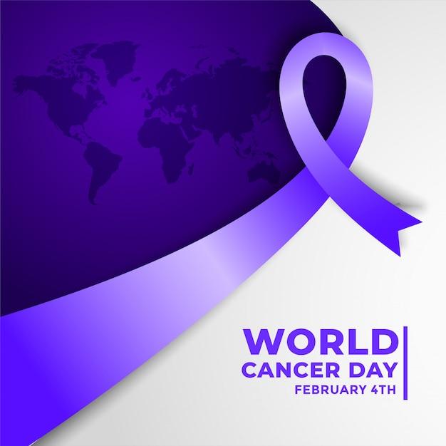 Cartel de concientización sobre el cáncer para el día mundial del cáncer vector gratuito