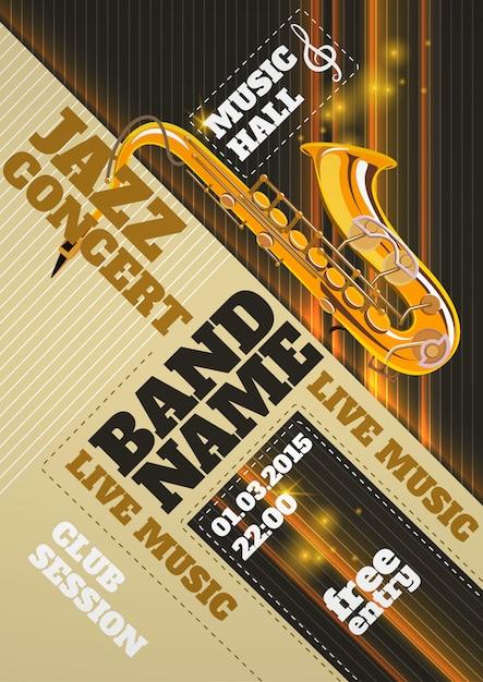 Cartel de concierto de jazz vector gratuito