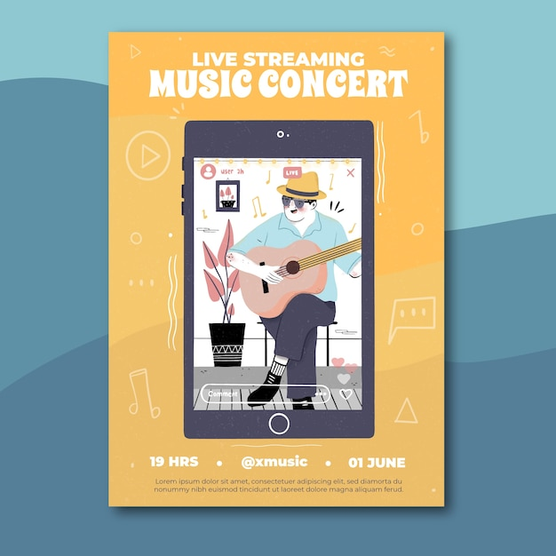Cartel de concierto de música en vivo dibujado a mano con hombre tocando la guitarra vector gratuito