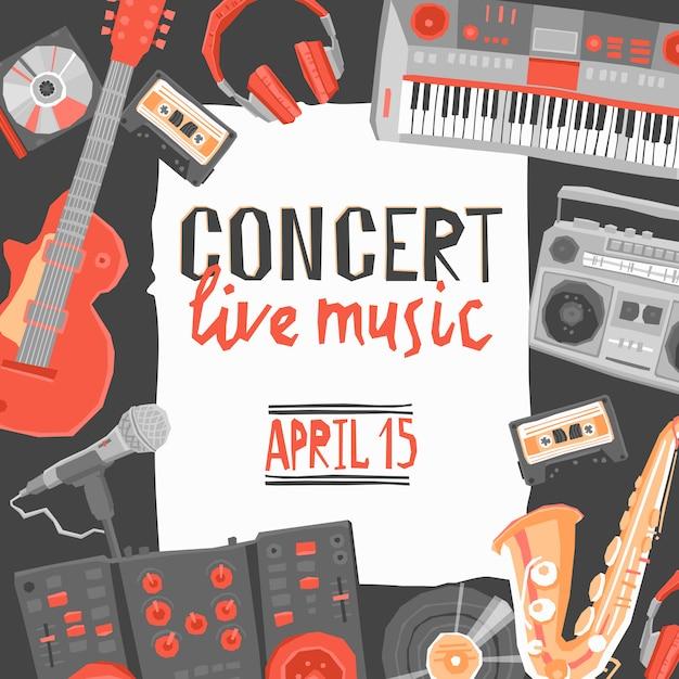 Cartel de concierto de musica vector gratuito