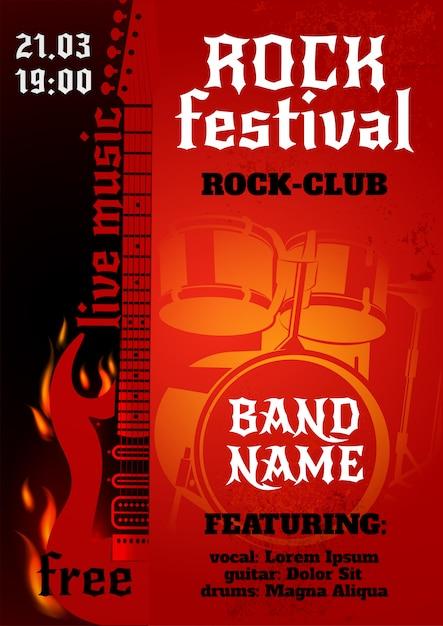 Cartel de concierto de rock vector gratuito