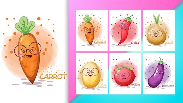 Cartel y conjunto de ilustración vegetal lindo. Vector Premium